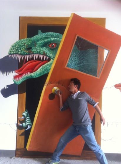 广州顺德龙江保利上城样板房3d恐龙立体画墙面立体画图片